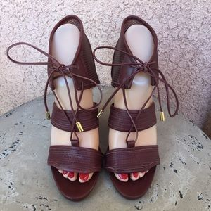 Derek Lamb Brown Leather Strappy Wedges Size 6